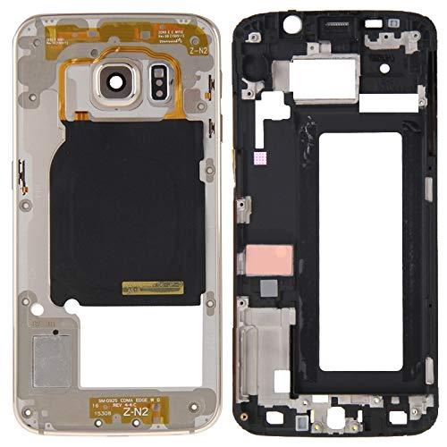 DaiMai Cubierta de carcasa completa (carcasa frontal LCD marco placa bisel + panel de lente de la cámara de la carcasa de la placa trasera) para Galaxy S6 Edge / G925 (gris) WH (color dorado)