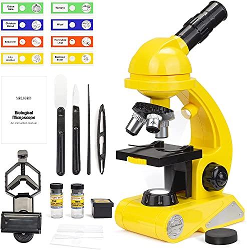 Microscopio para niños, doble luz, kit de ciencia para principiantes, juguete pedagógico STEM con aumento 80X-1200X