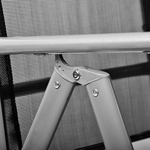 Nexos 4-er Set Stuhl, Klappstuhl, Gartenstuhl, Hochlehner für Terrasse, Balkon, Camping Festival, aus Aluminium verstellbar leicht, stabil, schwarz - 4