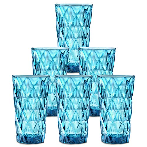 Chef#039s Star Glass Water Cups: 135 Oz Highball Drinking Glasses for Juice Cocktails Beer Iced Coffee  Tumbler Glassware Sets for Kitchen and Bar  Clear Blue Drinkware 6 Piece Glass Cup Set