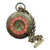 LAOJUNLU Reloj de bolsillo antiguo de cobre retornado Cloisonne de doble apertura Omega de una pieza de imitación de bronce antiguo colección de solitario estilo chino tradicional