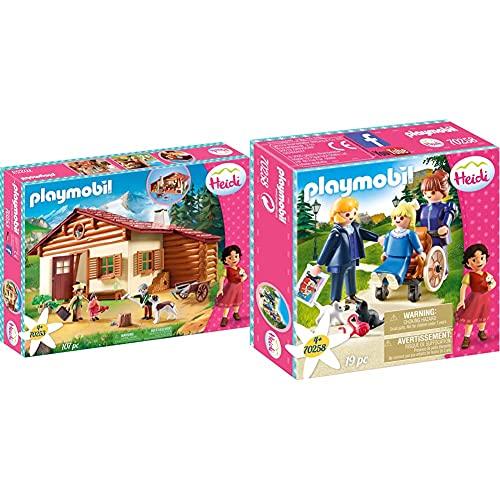 PLAYMOBIL Heidi en la Cabaña de los Alpes, A Partir de 4 años (70253) + Clara, Padre y Srta Rottenmeier Heidi Set Juguetes, Multicolor (70258)