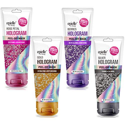 Epielle Hologram Peel Off Face Masks, Glitter Peel Off Mask, Toning & Calming, 8 variety packs (Single-Use Testers)…