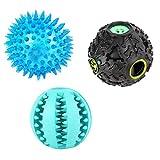 PanDaDa Hunde kau Spielzeug Set, Sortiert, 3 TLG, Undichter Ball, Blinkender Ball, Spielzeug für Hund, Reinigungs Spielzeug für Hunde zähne beißfestes Kaugummi Ball Molar Spielzeug