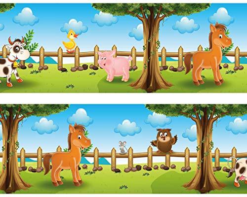 Kleisterbordüre 'Tiere auf dem Bauernhof', 4-teilig 520x15cm, Tapetenbordüre, Wandbordüre, Borte, Wanddeko,Kinder, Bauernhof
