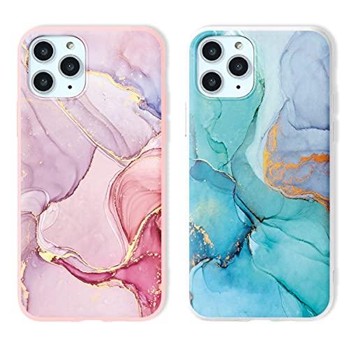 Yoedge 2 Pezzi per Apple iPhone 6 / 6S Cover Marmo, Custodia Morbide Silicone con Disegni, Protettivo Opaco TPU Bumper Ultra Sottile Antiurto Case Marble per iPhone 6S 4,7 Pollice, Rosa & Bianca