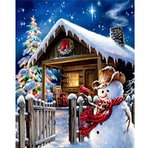 DIY diamante pintura-YUESEN Navidad muñeco de nieve completo diamante cristal diamante punto de cruz manualidades 5D bordado cuadrado punto de cruz sin marco decoración del hogar 40 * 50 cm