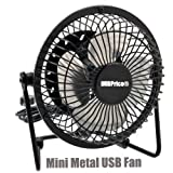 iMBAPrice Classic Hi Speed 4' USB Mini Desktop Metal Fan with ON/Off Switch for PC/Laptop (Black)