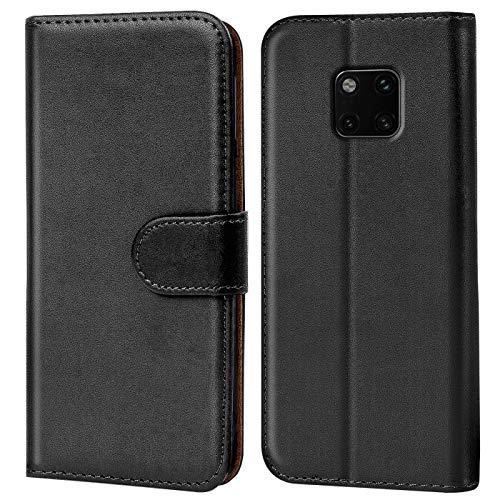 Verco Mate 20 Pro Hülle, Handyhülle für Huawei Mate 20 Pro Tasche PU Leder Flip Hülle Brieftasche - Schwarz
