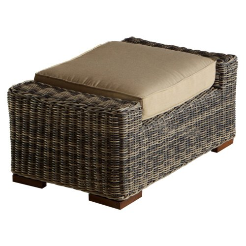 RST Brands OP-PECCLOTTO-LNK-WG Resort Collection Club Ottoman Rattan Patio Furniture, Weathered Gray
