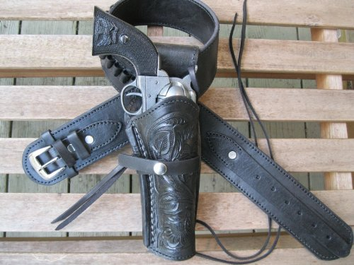 Shotgun Lilli Gun Belt - Leather - 22 Caliber - Black Color with Right Handed Tooled Holster Combo (48 Inch)