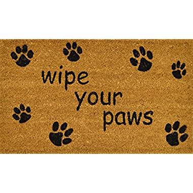 Avera Products Wipe Your Paws Pet Welcome Mat, All Natural Coir Fiber with Anti-slip PVC Backing, 18x30