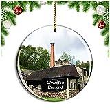 Weekino Ulverston Stott Park Bobbin Mill Reino Unido Inglaterra Decoración de Navidad Árbol de Navidad Adorno Colgante Ciudad Viaje Colección de Recuerdos Porcelana 2.85 Pulgadas