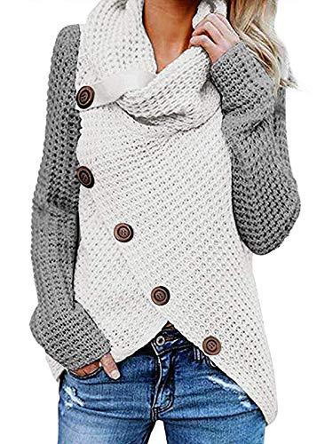 kenoce Damen Stilvoll Rollkragen Pullover Wrap Casual Schlank Strickjacken Vintage Cardigan Winter Herbst Stylisch Sweatshirts Patchwork Mesh 01-Grau+Weiß XL