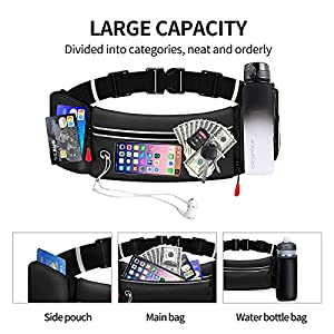 Yooumoga Hydration Running Belt for Women Men Running Fanny Pack with Foldable Water Bottle Holder for Walking No Bounce Adjustable Waist Pouch for Runners Jogging