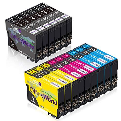OFFICEWORLD T130 (T1301, T1302, T1303, T1304), color negro, cian, magenta, amarillo, cartuchos de tóner de alta capacidad compatibles con impresoras Epson
