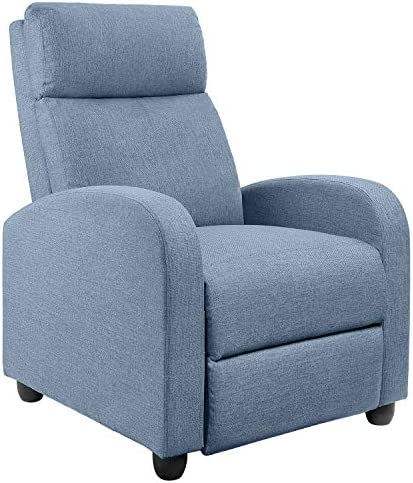 Best JUMMICO Fabric Recliner Chair Adjustable Home Theater Single Recliner Sofa Furniture with Thick Seat