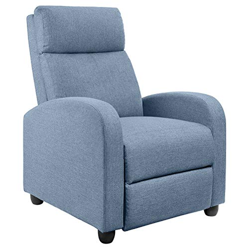JUMMICO Fabric Recliner Chair Adjustable Home Theater Single Massage Recliner Sofa Furniture with Thick Seat Cushion and Backrest Modern Living Room Recliners (Light-Blue)