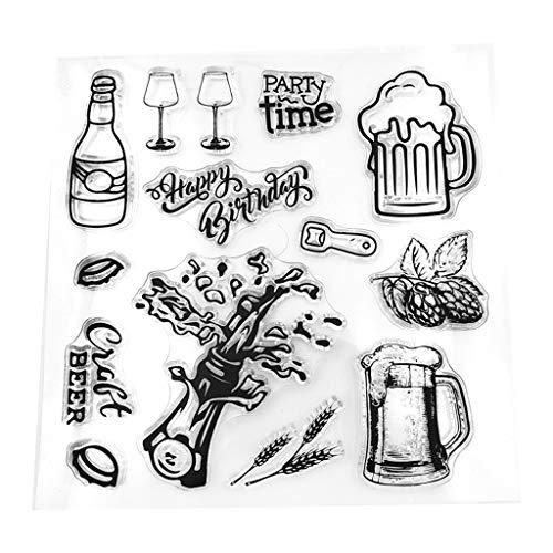 WuLi77 Silikonstempel, Champagner-Bier Silikon Clear Stamps - DIY Stempel Für DIY Album Scrapbooking Fotokarten Dekor