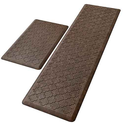 """KMAT Kitchen Mat [2 PCS] Cushion Anti Fatigue Comfort Mat, Non Slip Memory Foam Kitchen Mats for Floor, Waterproof Kitchen Rugs Standing Desk Mat Floor Mats for House, Sink, Office (17""""x28""""+17""""x60"""")"""