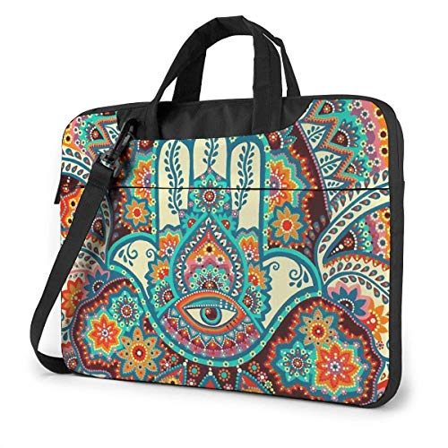 Laptop Bag In-dian Fatima Hamsa Hand Laptop Shoulder Messenger Bag, Notebook Sleeve Carrying Case with Trolley Belt Fits Laptops/Notebook/ebooks/Kids tablet/ipad 15.6 inch