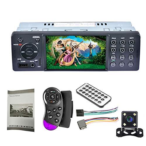 Clenp Lettore MP5 per Auto, Collegamento A Specchio da 4 Pollici Autoradio Stereo per Auto 1 DIN Bluetooth USB TF MP5 Lettore Video Un Colore con Fotocamera Posteriore a 8 LED