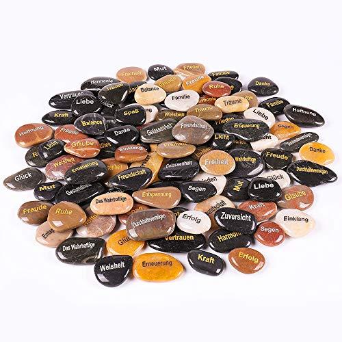 RockImpact 100 Stück Steine mit Spruch Glück Gravierte Steine Gravur Inspirierende Steine Glücksbringer Ermutigung Dankbarkeit Geschenk Glückssteine (Großhandel, Verschiedene Sprüche, je 5-8 cm)