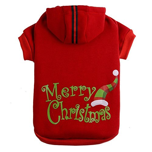 Christmas Patterns Printed Dog Hoodie Pet Puppy Sweatshirt Clothes Red Extra Small
