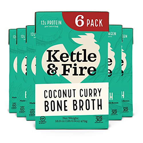 Coconut Curry & Lime Chicken Bone Broth by Kettle and Fire, Pack of 6, Keto Diet, Paleo Friendly, Whole 30 Approved, Gluten Free, with Collagen, 1 Net Carb, 12g of protein, 16.9 fl oz