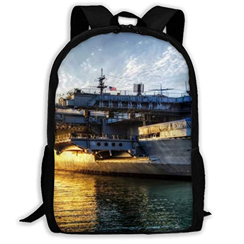 zaino per la scuola Aircraft Carriers USS Midway Sunset Seascape Laptop Bookbag Business Bag Travel Waterproof Anti-Theft Unisex Classic Lightweight College Schoolbag Fits 15-inch Computer Backpack C