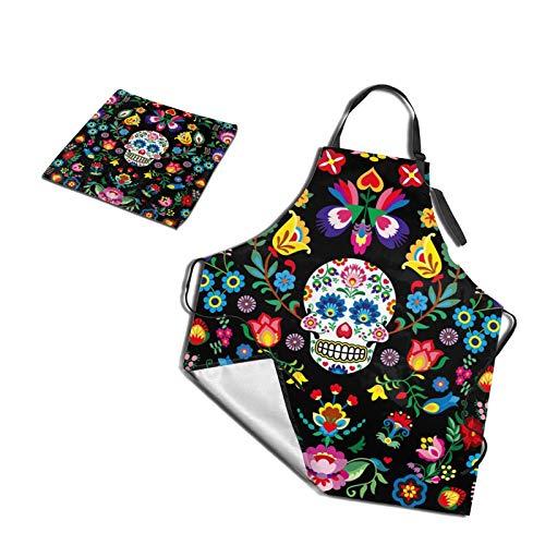 Minxiang Funny Mexican Sugar Skull Cooking Apron and Dish Towel Set