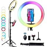 LED Ringlicht mit Stativ & Fernbedienung, OMMO 12 Zoll Ringleuchte 9 Farbe 10...