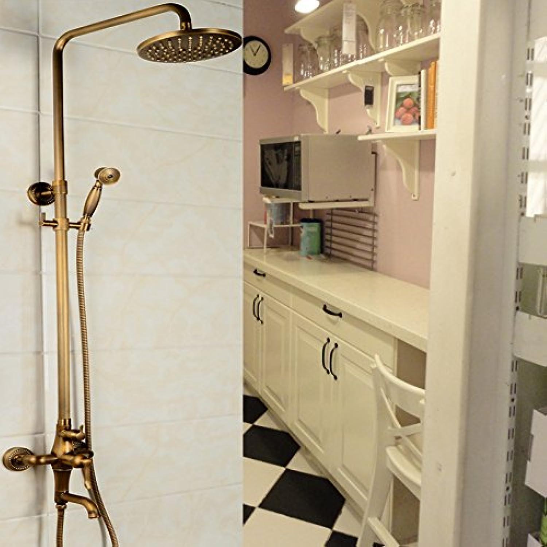Bathroom Shower Faucet Antique Brass Adjustment Height Hand Shower Bath Faucet Wall Mounted Shower Set