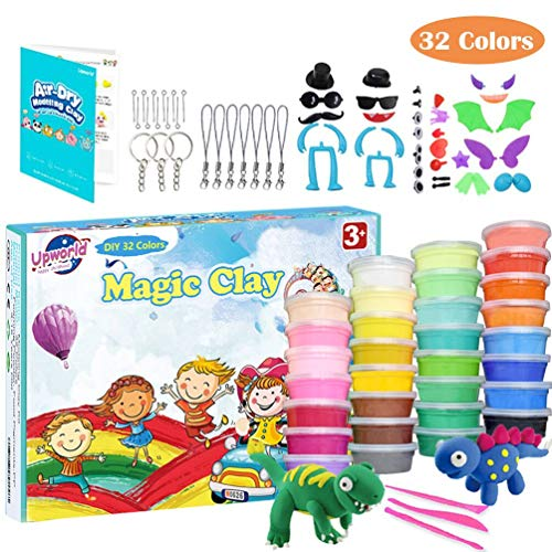 Upworld Modeling Clay Kit, 32 Colors Ultra Light Magic Clay Air Dry Clay with Modeling Tools, Animal Accessories, Manual and Storage Box Best Crafts Gift for Kids Age 3-12 Year Old