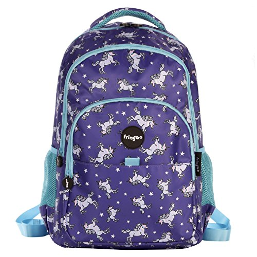 FRINGOO Girls Boys Multi-Compartment School Backpack Waterproof Fits Laptop 17'' (H:44cm*L:29cm*W:21cm, Unicorn Sky)