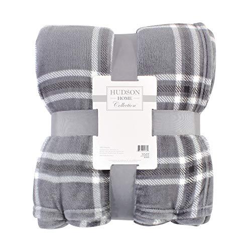 Hudson Baby Home Silky Plush Blanket, Gray Charcoal Plaid Fleece, 50X60 in. (Throw) (59232)