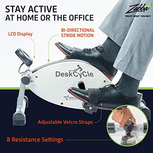 DeskCycle Under Desk Bike Pedal Exerciser – Mini Exercise Peddler – Stationary Cycle for Home &...