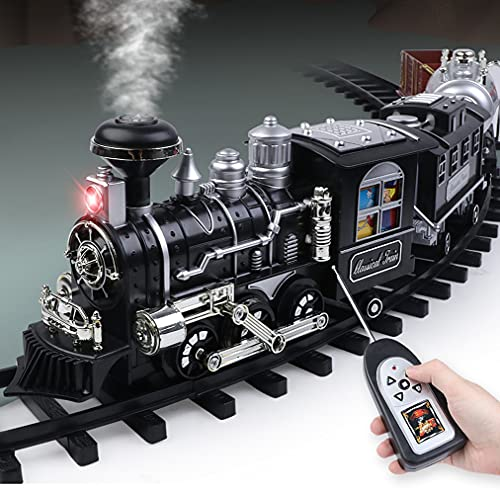 SOWOFA Treno per Fumatori Classico Telecomando per Bambini Treno Elettrico Set Pista Retro Modello di Treno a Vapore Giocattolo Regalo di Compleanno