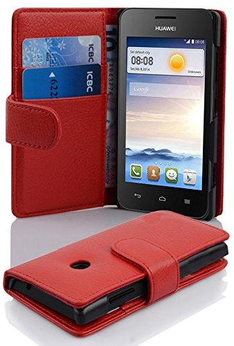 Cadorabo Hülle für Huawei Ascend Y330 - Hülle in Inferno ROT – Handyhülle mit Kartenfach aus struktriertem Kunstleder - Hülle Cover Schutzhülle Etui Tasche Book Klapp Style