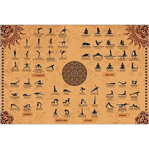 The Mindful Word Yoga Poses Poster (24x36 Inches) - Canvas Fabric Yoga Poster in English and Sanskrit - Beige (Rolled / Tube)