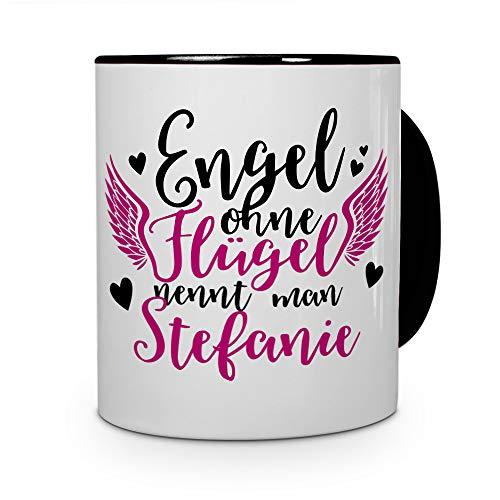 printplanet Tasse mit Namen Stefanie - Motiv Engel - Namenstasse, Kaffeebecher, Mug, Becher, Kaffeetasse - Farbe Schwarz