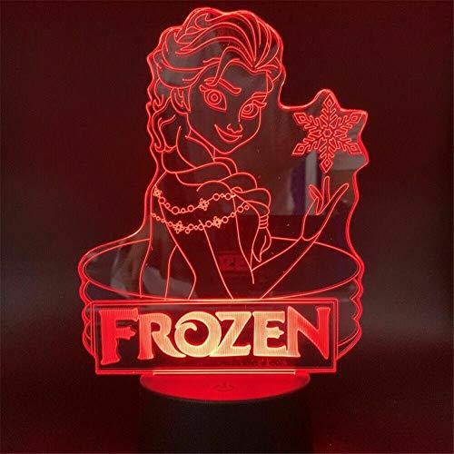 Lámpara de noche de ilusión 3D congelada Elsa para niños luz nocturna 16 cambio de color lámpara de decoración con control remoto y toque inteligente, Navidad y cumpleaños