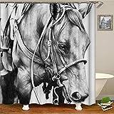 Brandless Retro West Cowboystiefel Hut Pferde Duschvorhänge Wasserdichter Stoff Polyester Bad Display Home Decoration-B180xH180cm