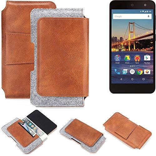 K-S-Trade® Schutz Hülle Für General Mobile 4G Gürteltasche Gürtel Tasche Schutzhülle Handy Smartphone Tasche Handyhülle PU + Filz, Braun (1x)