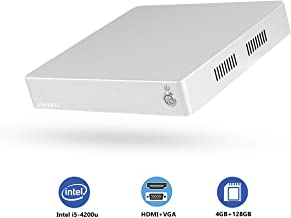 Mini PC, JOHNWILL Fanless Mini Computer with Intel i5 Dual Core CPU, 4GB RAM, 128GB SSD, HDMI/VGA Port, 2xUSB 3.0, Metal Case, Windows 10 Pro