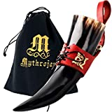 Mythrojan THE ELEGANT LADY Viking Drinking Horn with Red Leather holder Authentic Medieval