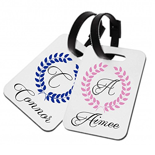Personalised wedding honeymoon hard plastic luggage tags His and Hers Wreath design