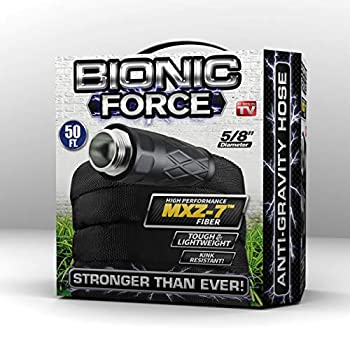 Bionic Force Garden Hose – Flexible Lightweight Heavy-Duty Garden Hose Made of High Performance MXZ-7 Fiber with Crush Resistant Aluminum Fittings - 5/8 in Dia x 50 ft As Seen on TV