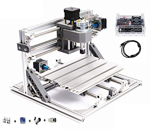 CNC 2418 GRBL Control DIY Mini CNC Router Kit 3 Axis Desktop Milling Engraver Machine Plastic Acrylic PCB PVC Wood Engraving Carving Cutting Machine 24x18x4.0cm ER11 (2418)