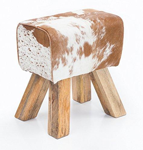 FineBuy Design Turnbock Sitzhocker Ziegenfell Braun/Weiß 40 x 30 x 47 cm | Turnhocker Hocker Lederhocker Springbock | Beistellhocker Echtleder Fußhocker